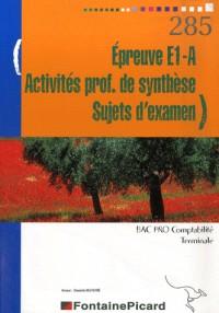 Epreuve E1-A Activités professionnelles de synthèse Sujets d'examen Tle Bac Pro comptabilité