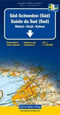 Carte routière : Suède Sud (Sud)