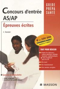 Concours d'entrée AS/AP : Epreuves écrites