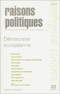 Raisons politiques, numéro 10 : Démocratie européenne