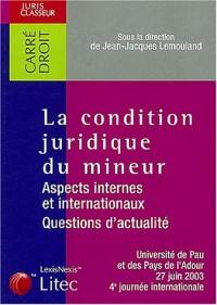 La condition juridique du mineur : Aspects internes et internationaux, questions d'actualité? Université de Pau et des Pays de l'Adour, 27 juin 2003, 4e journée internationale