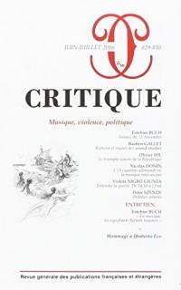Critique 829-830 Musique et Politique
