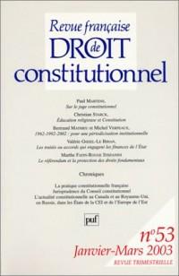 Revue française de droit constitutionnel, numéro 53