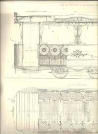 Machines, outillage, matériel 234. Juin 1875. Tramways de Paris (plans). Turbine des laminoirs de Bazacle - moulin à eau (plans). Milan: Brouette à 2 roues des balayeurs et pompe à bras locomobile pou