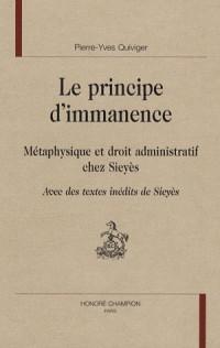 Le principe d'immanence : Métaphysique et droit administratif chez Sieyès