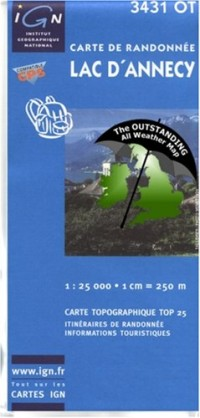 Lac d'Annecy ~ IGN Top 25 3431OT  (The Outstanding All Weather Map)