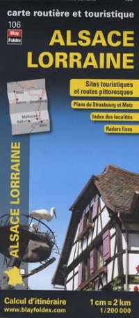Alsace Lorraine, carte régionale, routière et touristique