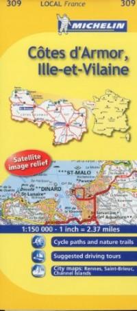 Michelin Map France: Ctes D'armor, Ille-et-vilaine 309