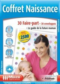 COFFRET NAISSANCE 30 faire-part avec 30 enveloppes + le logiciel + le guide de la future Maman