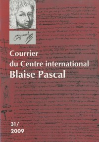 Courrier du Centre international Blaise Pascal, N° 31, 2009 :