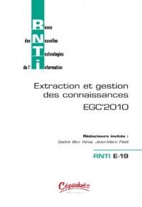 RNTI E-19 EGC'2010 - Revue des Nouvelles Technologies de l'Information (Extraction et Gestion des Connaissances)