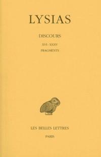 Discours, tome 2, 5e édition. Discours XVI-XXXV - Fragment - Lettres