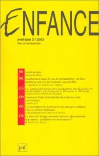 Enfance 2003, numéro 2