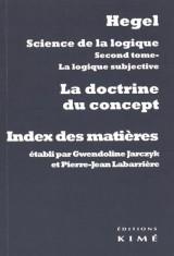 Science de la logique : la doctrine du concept : Index des matières