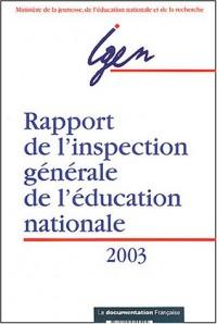 Rapport de l'inspection générale de l'Education nationale 2003