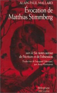 Evocation de Matthias Stimmberg, suivi de