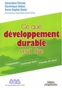 Ce que développement durable veut dire : Comprendre - Comment faire - Prendre du recul