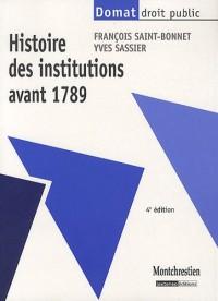 Histoire des institutions avant 1789, quatrième édition