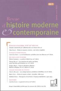 Revue d'histoire moderne et contemporaine, N° 50-1 : Janvier-Mars 2003 : Espaces Policiers, XVIIe-XXe Siècles, logiques territoriales