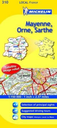Michelin Map France: Mayenne, Orne, Sarthe 310