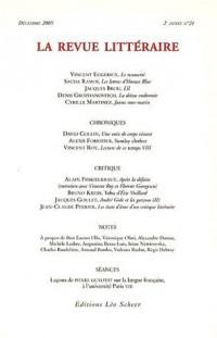 La Revue littéraire, N° 21, Décembre 2005 :