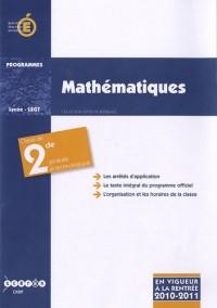 Mathématiques, classe de seconde générale et technologique : Programme entré en vigueur à la rentrée scolaire 2010-2011