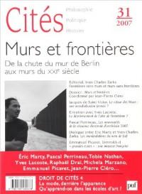 Cités, N° 31 : Murs et frontières