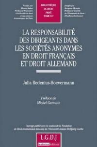 La responsabilité des dirigeants dans les sociétés anonymes en droit français et droit allemand