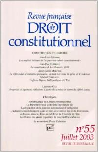 Revue française de droit constitutionnel, numéro 55 - 2003