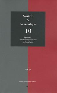 Syntaxe & Sémantique, N° 10/2009 : Rhénania : dimensions syntaxiques et sémantiques