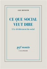 Ce Que Social Veut Dire (le Dechirement du Social) T1