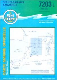 Carte marine : Des Îles Baléares à Marseille