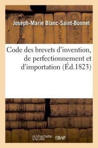 Code des Brevets d Invention  ed 1823