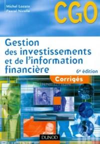 Gestion des investissements et de l'information financière - 6ème édition - Corrigés