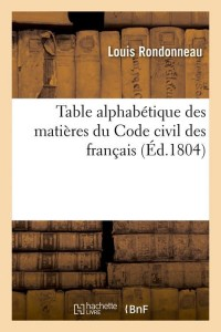 Table du code civil des français  ed 1804