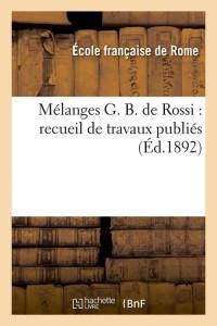 Melanges G  B  de Rossi  ed 1892