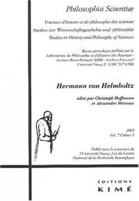 Philosophia Scientiae, Volume 7 N° 1/2003 : Hermann von Helmholtz