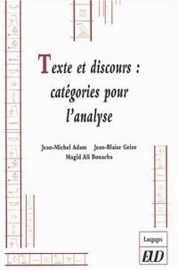 Textes et discours : catégories pour l'analyse