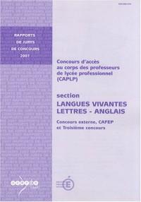 CAPLP langues vivantes - lettres - anglais : Concours externe, CAFEP et troisième concours
