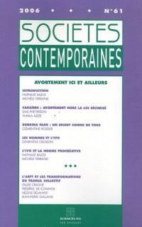 Sociétés contemporaines, N° 61 Janvier-Mars 2 : Avortement ici et ailleurs
