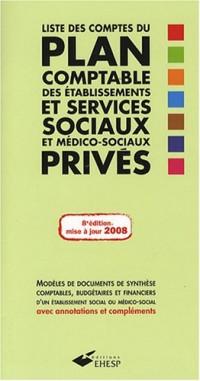 Liste des comptes du plan comptable des établissements et services sociaux et médico-sociaux privés