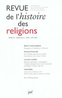 Revue de l'histoire des religions nø2 2002