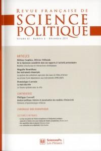 Revue Française de Sciences Politiques Vol 61tome 6