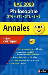Philosophie STG-STI-STL-SMS : Sujets corrigés