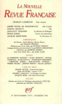 La N.R.F., numéro 296, septembre 1977