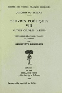 Oeuvres poétiques, N° 8 : Autres Oeuvres Latines