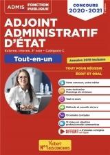 Concours Adjoint administratif d'Etat - Catégorie C - Tout-en-un - Annales 2019 incluses - Concours 2020-2021