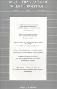 Revue française de science politique, volume 54, tome 1 - Février 2004