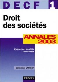 DECF, Droit des sociétés numéro 1 : Annales 2003