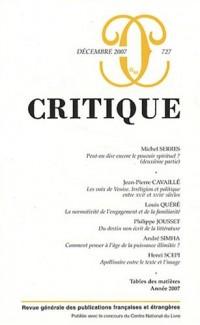 Critique, N° 727, Décembre 2007